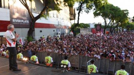 Hinchas de River Plate festejaron el aniversario de la Copa Libertadores ganada a Boca Juniors