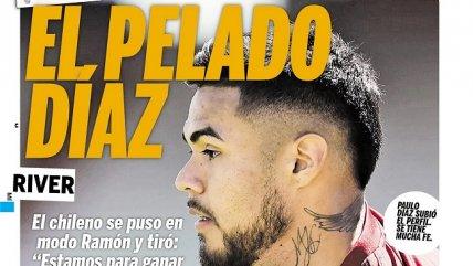 Paulo Díaz acaparó la portada del diario deportivo Olé de Argentina