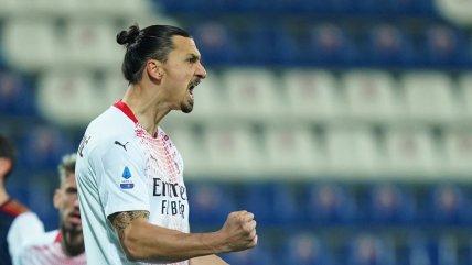 Zlatan Ibrahimovic brilló con doblete en sólido triunfo de AC Milan sobre Cagliari