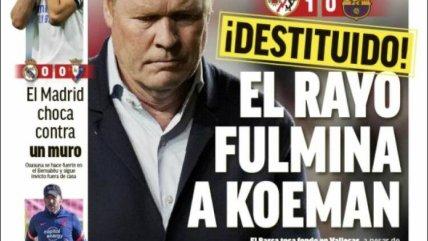 """""""Un Rayo lo fulminó"""": Las portadas de la prensa española tras la salida de Koeman"""
